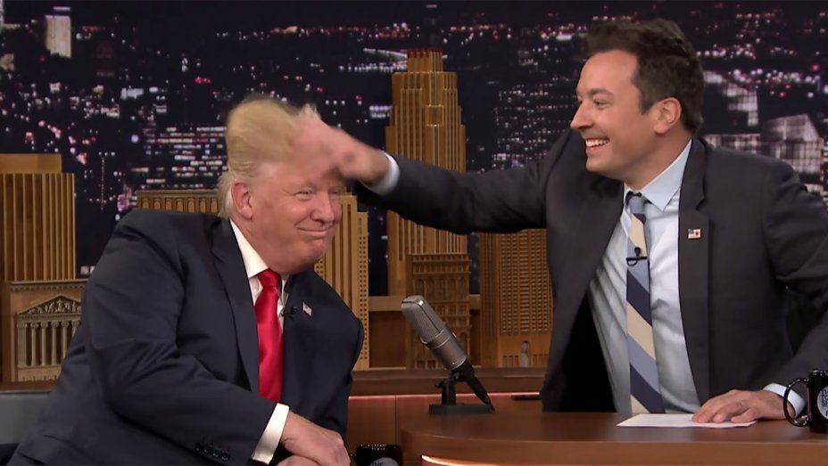 "Jimmy Fallon Talks Trump Hair-Ruffling: ""I Almost Did it to Minimize Him"""