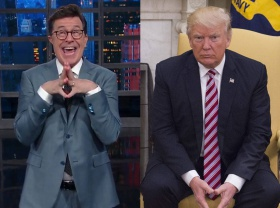 """Stephen Colbert Gleefully Responds to Donald Trump's Insults: """"I Won"""""""