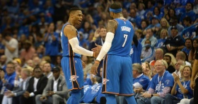 "OKC's ""Big 3"" debuts in victory over Knicks"