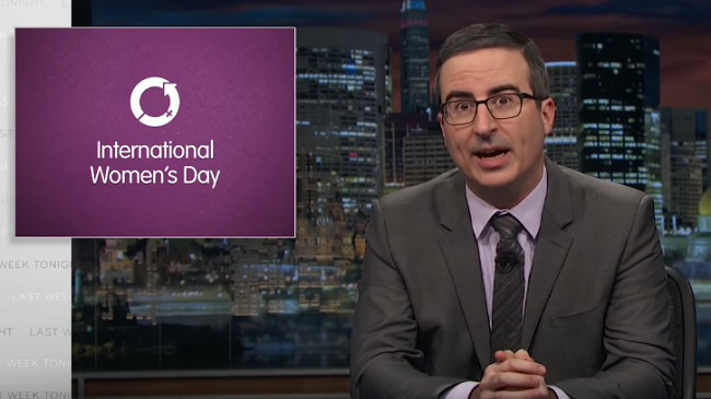 John Oliver Takes CBS To Task For Its International Women's Day Coverage After The Charlie Rose Allegations